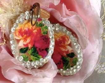 Lilygrace Rose Cameo Earrings with Vintage Rhinestones
