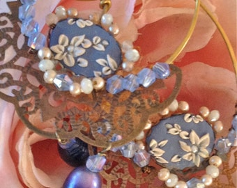 Lilygrace Large Filigree Hoop Earrings with a Floral Cameo and Navy Freshwater Pearls