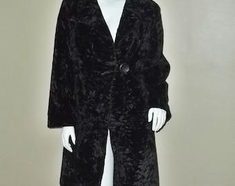 Vintage 50's Crushed Velvet Rockabilly Pinup Dramatic Opera Coat 42