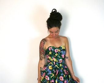 VTG 1980s floral strapless mini dress S