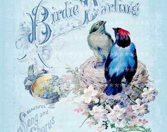 Vintage music Birdie Darling Large digital download ECS buy 3 get one free single image printable