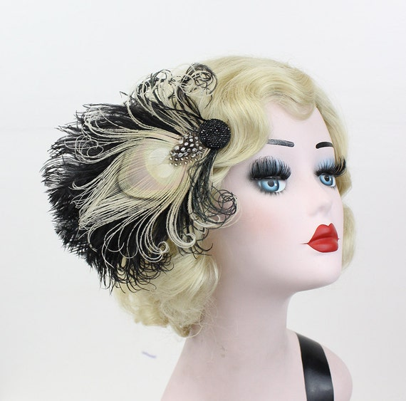 Black and White Peacock Feather Fascinator, Unique Bridal Head Piece, Women's Hair Accessory, Halloween Wedding - Victorian Hair Ornament
