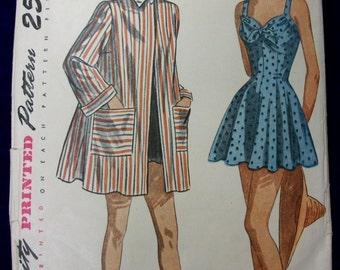 Vintage Simplicity 2441 . 1940s Sewing Pattern . Bathing Suit & Beach Coat . Size 14 Bust 32