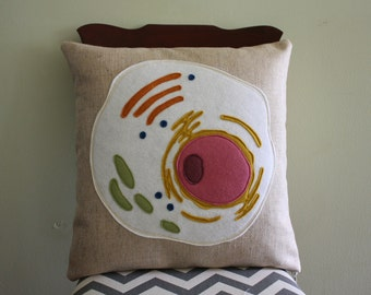 Science Diagram Pillow - Eukaryotic Cell // Science // Biology // Teacher // Medical Student // Animal Cell // Nucleus // DNA