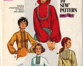 Vintage 1960s Misses Blouse Sewing Pattern Simplicity 8416 Eyelet Trimmed Yoke Stand up Collar Bishop Sleeve Lace Jabot Size 6 Bust 30 1/2