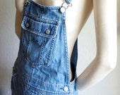 Vintage 80s Overall Blue Jean Denim Mini Skirt Dress Carpenter Pant Dress