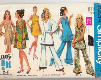 """Vintage Sewing Pattern 1970's Dress, Blouse, Pants Simplicity 8234 34"""" Bust- Free Pattern Grading E-book Included"""