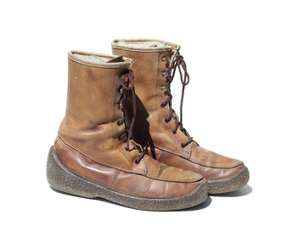 Vintage Men's Autumn Brown Leather Boots / Mid Calf Boots / size 11
