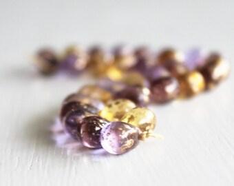30 Violet/Topaz/Plum Gold Dust Mix 9x6mm Czech Glass Drops