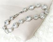 Rhinestone Wedding Bracelet, Cubic Zirconia, Bridal Bracelet, CZ Wedding Bracelet, Pink Gold Jewelry