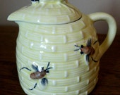 Unique Vintage Yellow Honey Pot with Hand Painted Bees