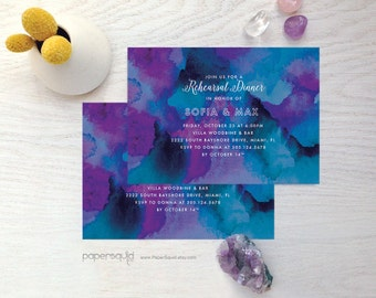 Watercolor Bridal Shower Invitation, or Rehearsal Dinner Invitation - For Any Event - Digital Printable File - Item 164 by paper squid