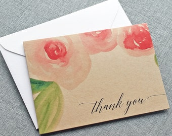 NEW Amelia Watercolor Floral Folded Thank You Cards - Recycled Kraft Wedding Thank You Cards