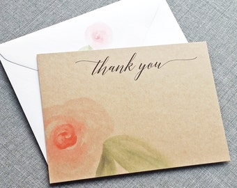 Amelia Watercolor Floral Kraft Thank You Cards - Recycled Kraft Card Stock with Beautiful Black Script