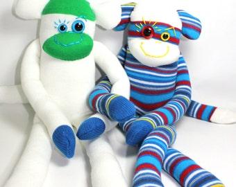 Sock Monkey PABLO: white, blue, green handmade plush toy softie.