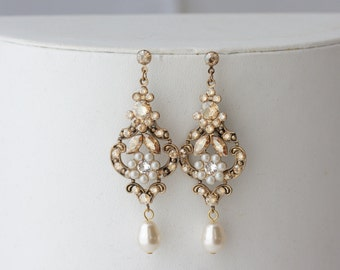 Chandelier Wedding Earrings Antique Gold Bridal Earrings Swarovski Golden Shadow Crystal Pearl Vintage Wedding Jewelry. AMY