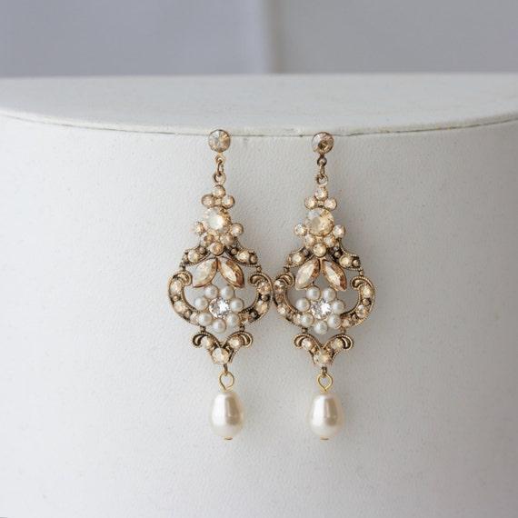 Like this item? - Chandelier Wedding Earrings Antique Gold Bridal Earrings