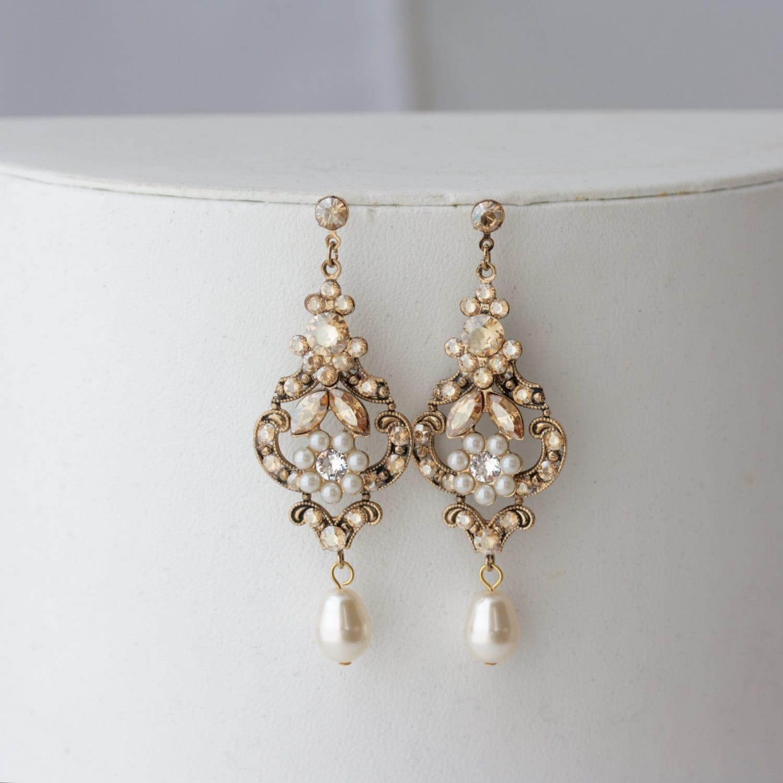 chandelier wedding earrings antique gold bridal earrings. Black Bedroom Furniture Sets. Home Design Ideas