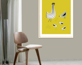 Extra Large Chicken Poster, Retro Kitchen, Large Chicken Print, Chicken Lover Gift