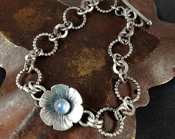 Gemstone and Sterling Silver Bloom Bracelet - Birthstone - Moonstone - Made to Order