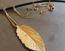 Golf Feather Necklace,Leaf Necklace,Gold Leaf necklace,Pendant necklace,Layering Necklace,Gold jewelry,Gold Leaf charm Necklace by AHAAVI