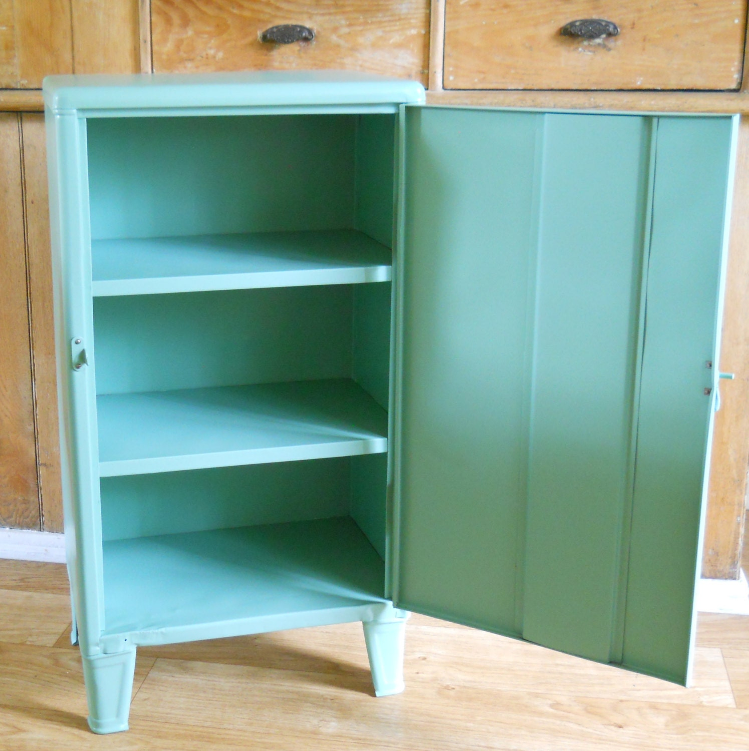 Vintage metal cabinet cabinet with legs by lisabretrostyle2