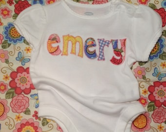 Personalized Baby Onesie Appliqued NAME
