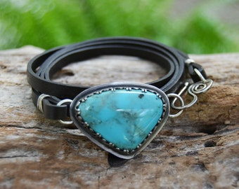 Turquoise Leather Wrap Bracelet. Boho Chic. Turquoise Bracelet. Sterling Silver Blue Stone Bracelet. Layering Bracelet.