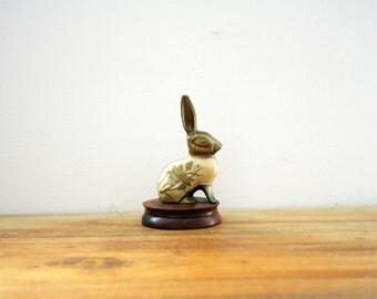 vintage 70s Brass Rabbit with Floral Design Paperweight Figurine on Wooden Base // Retro Shelf Decor