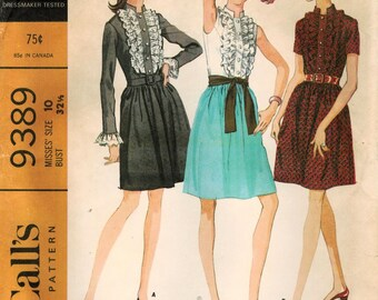 1960s McCall's 9389 UNCUT Vintage Sewing Pattern Misses Party Dress Size 10 Bust 32-1/2