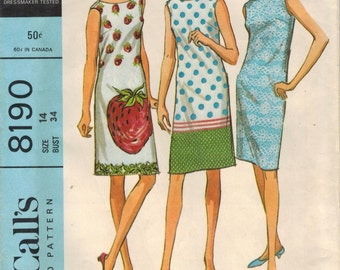 1960s McCall's 8190 Vintage Sewing Pattern Misses Summer Dress Shift Size 14 Bust 34