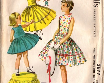 1950s McCall's 3677 Vintage Sewing Pattern Girl's Party Dress, Full Skirt Dress Size 12