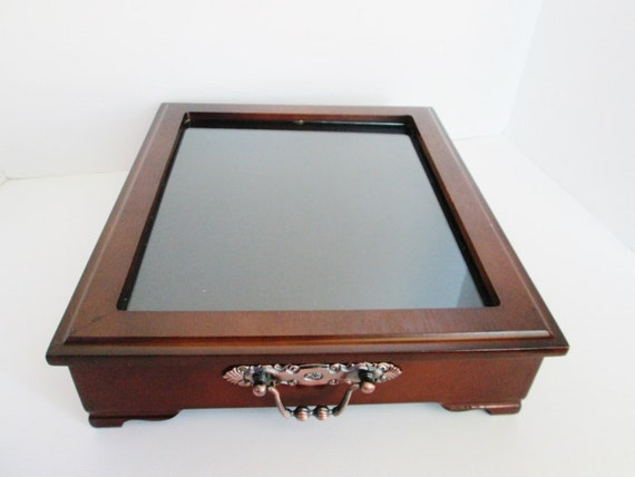glass top wood jewelry display tray table top dresser