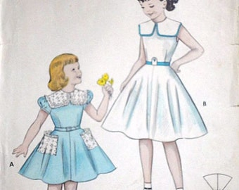 Girls' Quick & Easy Dress, Burtterick 6899 Vintage 50's Sewing Pattern, Party Dress, Size 6, 24 Breast
