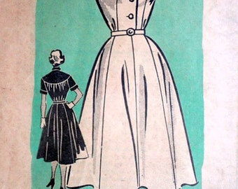Misses' Shirtwaist Dress, Marian Martin 9295 Vintage 50's Mail Order Sewing Pattern, Size 12, Bust 30