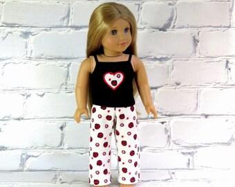 18 inch Doll Clothes Ladybug Pajamas, Tank Top & Waffle Knit Pants, 2 pc PJs