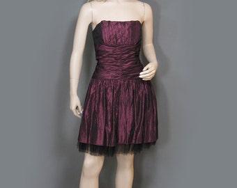 Vintage Dress 80s Strapless Metallic Purple Gunne Sax Fitted Waist Black Tulle Trim S XS