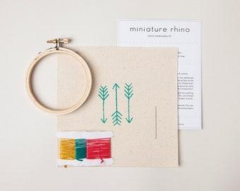 Mini Arrow Embroidery Kit - Turquoise