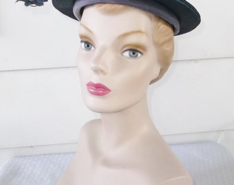 1950s Vintage Blue Boater or Sailor Hat with Flower