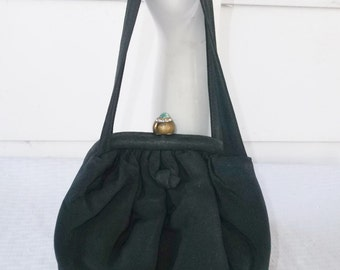 1940s Vintage Black Faille Purse with Jeweled Clasp by Julius Resnick