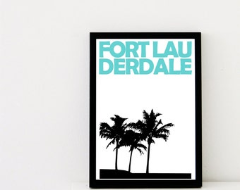 Fort Lauderdale Print // Florida Art Print // Fort Lauderdale Poster // Fort Lauderdale Art // Travel // Wedding Gift // Travelling Gift