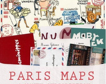 PARIS MAPS : 6 Map Letter subscription. A different illustrated Paris street map each month + Bear watercolor bonus
