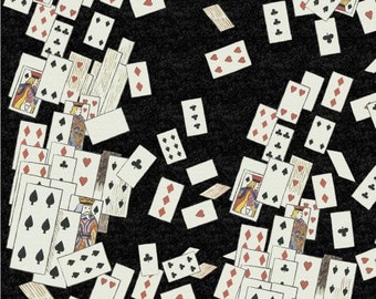 Alice Adventures in Wonderland cotton quilting fabric Playing Cards W30851-3 Black, half yard