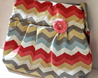 Diaper Bag, Chevron Coral and Aqua, Cute Diaper Bag, Diaper Bag Chevron Multicolor Purse, Cute Large Purse, Cute Yoga Bag, Multipurpose Bag