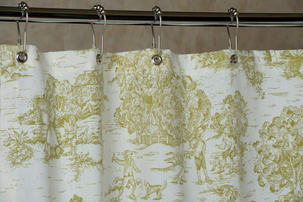 Toile Bathroom Ideas: Pear Green Toile Shower Curtain With Grommets By