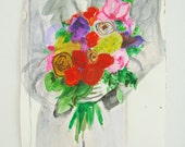 Sale~The Peace Bouquet~ Original Contemporary Floral Acrylic Painting On Paper / Bouquet / Flowers / NY Artist - Free Shipping US