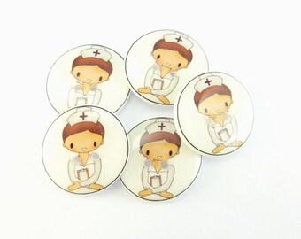 Handmade Buttons. Nurse Handmade Sewing Buttons. Set of 5.