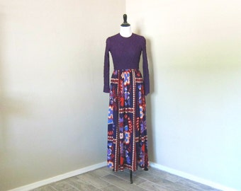 Vintage Maxi Dress, 1970s Saks Fifth Avenue Long Sleeved Maxi Dress in Dark Plum with Peach, Rust, Blue, Purple Floral Skirt, Needs Repairs