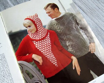 Vintage Knitting Patterns, 24 Sweater and Coat Patterns from the 1960s for Women, Men, and Children, Mother-Daughter Sweaters, Knit Dresses