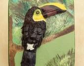 Toucan Sculpture, Polymer Clay Bas Relief Tropical Bird Sculpture on Wooden Keepsake Box, Rainforest Art, Exotic Bird Lover Gift, Memory Box